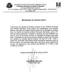 MANIFESTAÇÃO DE INTERESSE PÚBLICO